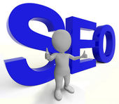 Seo Word Represents Internet Optimization And Promotion — Stock Photo