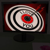 I Love You On Dartboard Shows Valentines Day — Stock Photo
