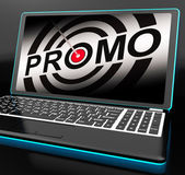 Promo On Laptop Shows Special Promotions — Stock Photo