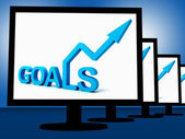 Goals On Monitors Showing Company's Targets — Stock Photo