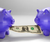 Piggybanks Eating Money Showing Financial Counselling — Stock Photo