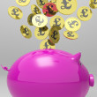 Coins Entering Piggybank Shows Britain Investments — Stockfoto #21852015