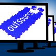 Foto Stock: Outsource On Monitors Shows Subcontracts