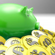 Piggybank Surrounded In Coins Shows AmericFinances — Stockfoto #21852139