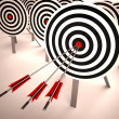 Triple Target Shows Accuracy, Aim And Skill — Foto de stock #21852243