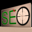 Seo Target Means Search Engine Optimization And Promotion — Stock Photo
