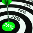 25 Percent On Dartboard Showing Won Reductions — Stock Photo #21852295