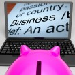 Business Definitions On Laptop Shows Monetary Transactions — Stock Photo