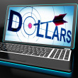 Stock Photo: Dollars On Laptop Shows Financial Currencies