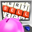 Sell Keys On Monitor Showing Online Marketing — Stock Photo