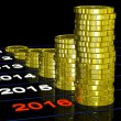 Stock Photo: Coins On 2016 Shows Finance Forecasting