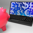 Currencies On Laptop Showing Global Economy — Stock Photo