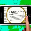 Foto de Stock  : Outsource Definition On Smartphone Showing Freelance Jobs
