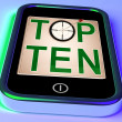 Stock Photo: Top Ten On Smartphone Shows Selected Ranking