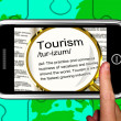 Tourism Definition On Smartphone Shows Traveling Abroad — Stock Photo