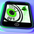 25 Percent Off On Smartphone Shows Selected Discounts — Stock Photo