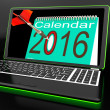 Calendar 2016 On Laptop Showing Future Websites — Stock Photo