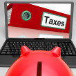 Taxes File On Laptop Shows Taxation — Stock Photo