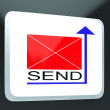 Стоковое фото: Send Mail Button Showing Online Correspondence
