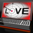 Love On Laptop Shows Romance — Foto Stock