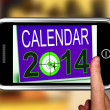 ストック写真: Calendar 2014 On Smartphone Shows Future Missions