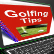 Stock Photo: Golfing Tips On Laptop Shows Golfing Advices
