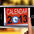 Calendar 2013 On Smartphone Showing Future Resolutions — Stockfoto #21852819