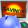 Savings Sinking On Monitor Showing Monetary Loss — Stock Photo