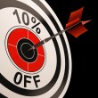 Stock Photo: 10 Percent Off Shows Percentage Reduction On Price
