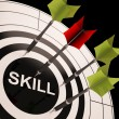 Stock Photo: Skill On Dartboard Shows Gained Skills