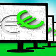 Euro Symbol On Monitors Showing European Wealth — Stock Photo