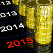Stock Photo: Coins On 2015 Showing Financial Visions