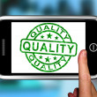 Quality On Smartphone Shows Premium Products — Stock Photo