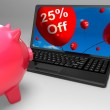 Twenty-Five Percent Off On Laptop Shows Discounts — Stock Photo