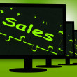 Sales On Monitors Shows Promotions — Stock Photo