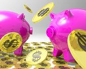 Il pleut des pièces sur piggybanks montre profit américain — Photo