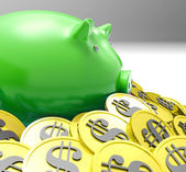 Piggybank Surrounded In Coins Shows American Finances — Stock Photo