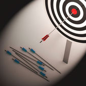 Arrow On Dartboard Shows Failure Or Failed Shot — Stock Photo