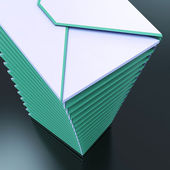 Piled Envelopes Shows Computer Mail Outbox Communication — Stock Photo