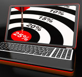 25 Percent On Laptop Shows Promotional Prices — Stock Photo
