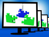 Unfinished Puzzle On Monitors Showing Strategy — Stock Photo