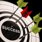 Success On Dartboard Shows Successful Goals — Stock Photo