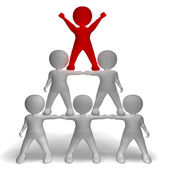 3d Character Pyramid Showing Hierarchy And Teamwork — Stock Photo