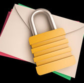 Lock Over Letters Shows Correspondence Safety — Stock Photo