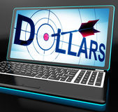 Dollars On Laptop Shows Financial Currencies — Stock Photo