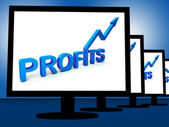 Profits On Monitors Showing Profitable Incomes — Stock Photo