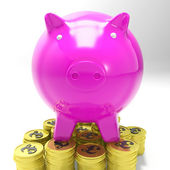 Piggybank On Coins Showing Britain Investments — Stock Photo