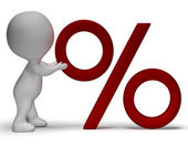 Percent Sign With 3d Man Showing Percentage Or Reductions — Stock Photo