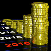 Coins On 2016 Shows Finance Forecasting — Stock Photo