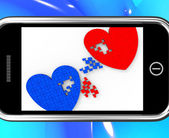 Two Hearts On Smartphone Shows Marriage — Stock Photo